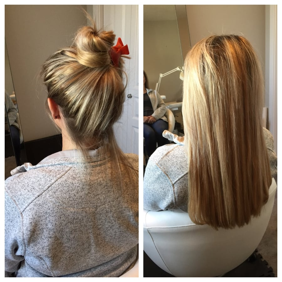 Hair extensions installation +real hair