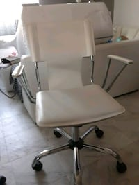 stainless steel base white leather padded rolling chair 2275 mi