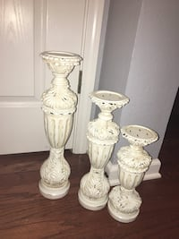 three white ceramic candle holders Olive Branch, 38654