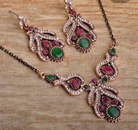 REDUCED!  GIFT IT!  NEW - Red & Green Stone Necklace & Earrings Set Richmond, V6X