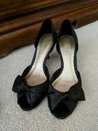 pair of black leather open-toe heeled sandals Brampton, L7A 0W3