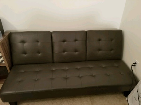 Gray Leather Futon Modern Sofabed for your living
