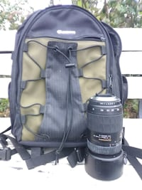 macro lens and backpack