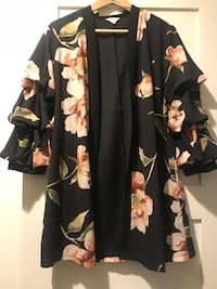 black and yellow floral long-sleeved shirt 欧文, 92612