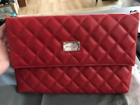 St. John Quilted Nappa Leather Fold Over Clutch Bag, Red Rockville, 20851