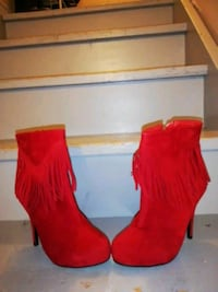 red suede high heeled booties with fringe Vaughan, L4H 2Z2