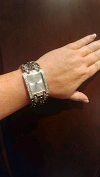 Guess Watch, crystals around bezel, chain link bracelet band. Asheville