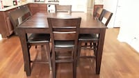 Espresso Dining Table - Bar Height, Square - with 4 chairs and a bench Chula Vista