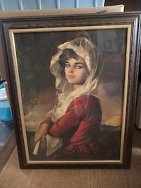 Lady on wood Framed