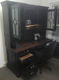 "66"" Aspenhome Executive Office Desk + Hutch (Black) +FREE Office Chair Rock Hill, 29732"