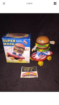 Vintage   Rare   Super Mack   Skateboarding Hamburger   Battery Operated   By Yo Lo Toys 1988   Really cool & unique piece. Bright colors.   Tested & engine works but Wheel doesn't spin.   Box in very nice shape with light shelf wear. Some edge wear & sli Fremont, 94555