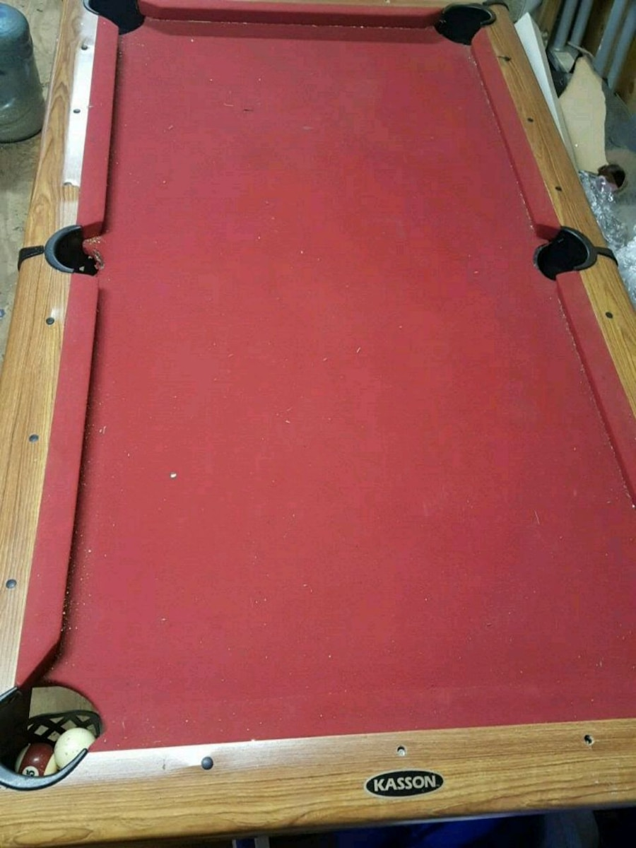 red and brown pool table for sale  Clinton