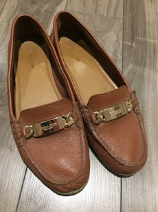 Brown Coach leather loafers