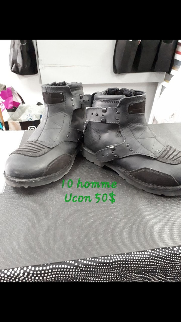 a7117f400bc5 Used pair of black leather side-zip biker booties for sale in Les Coteaux -  letgo