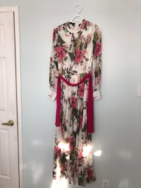 white and green floral long-sleeve maxi dress