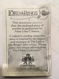Lord of Rings necklace collectors item sterling silver  Germantown