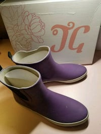 purple-and-white rain boots