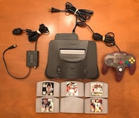 Nintendo 64 with expansion pack, atomic purple controller and 6 games Bellflower, 90706