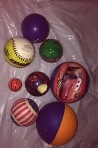 8 balls med to small balls two baseball one car ball one spiderman