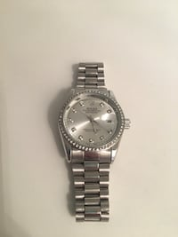 round silver Rolex analog watch with link bracelet Markham, L3T 7N1