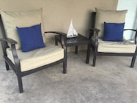 Patio chairs and cushions along with side table  Fresno, 93711