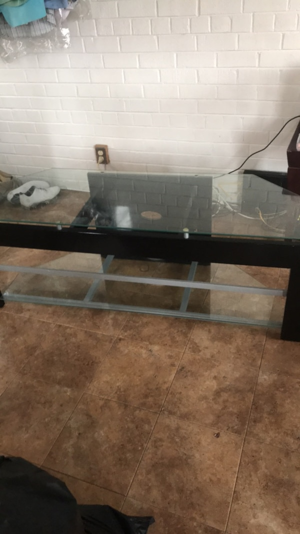 Black metal frame glass top table