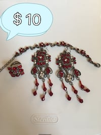 Black and red gem stone necklace!!!