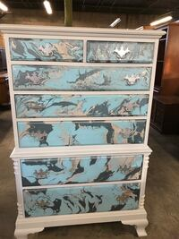 Upcycled Pour Paint Chest of Drawers