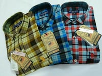 three brown, blue, and red plaid buttoned-up polo shirts Ahmedabad, 382350