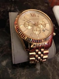 round gold Michael Kors chronograph watch with link bracelet Tuscaloosa, 35401