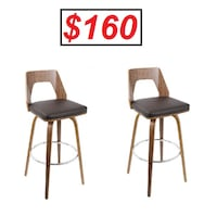 AJ - BRAND NEW - Lumisource Trilogy Bar Stool in Walnut w/ Brown Leatherette (Set of 2) Mississauga