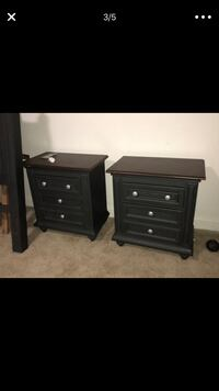 two black wooden 3-drawer chests Pikesville, 21208