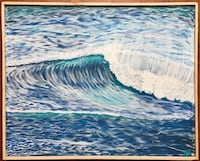 Blue water wave painting