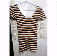 black and white striped scoop-neck shirt 12848 km