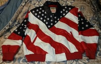 Michael Hoban Wheremi Leather USA Flag Jacket XL A Hyattsville