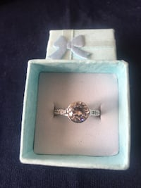 Silver 925 Stamped Ring White Topaz New in Box Size L Bishop Auckland, DL14 9DB