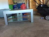 gray wooden TV stand