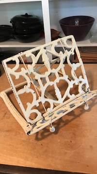 white metal book stand