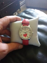 round white analog watch with pink strap Vancouver