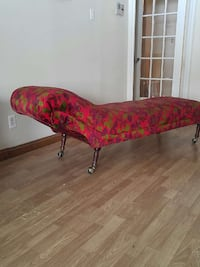 red, green and purple floral chaise lounge