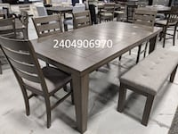 No credit needed no interest gray color 7pc dining table set, NO BENCH College Park