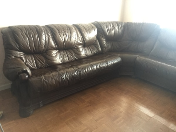 Beautiful Brown Leather and Wood Pull Out Couch LOWERED PRICE