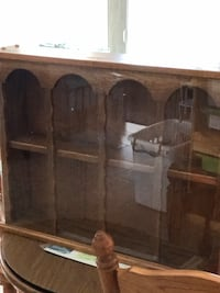 Solid oak display case with glass slider. Wall mount or sits.  Livonia, 48154