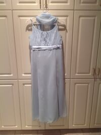 Baby blue chiffon dress with light beading on top part of dress. Size 16 girls.  Montréal, H1M 3G5