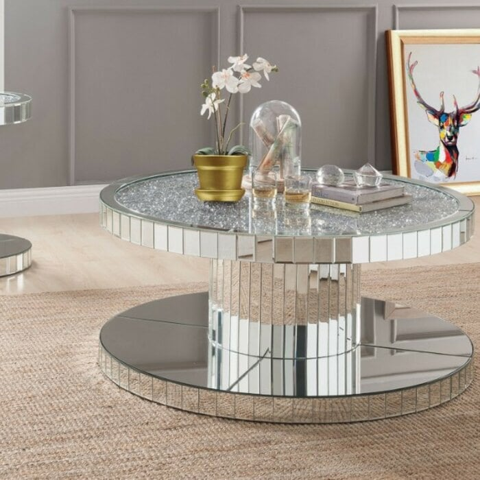 NEW ROUND MIRRORED COFFEE TABLE