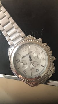 round silver Michael Kors chronograph watch with silver link bracelet Toronto, M4S 1E8