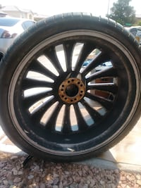 black multi-spoke car wheel with tire Las Vegas, 89108