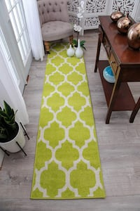 Green Runner rug Trellis NEW