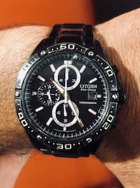 round black and silver chronograph watch with black leather strap Compton, 90221
