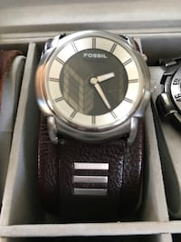 Round gray fossil analog watch witn brown leather strap in box Vienna, 22180
